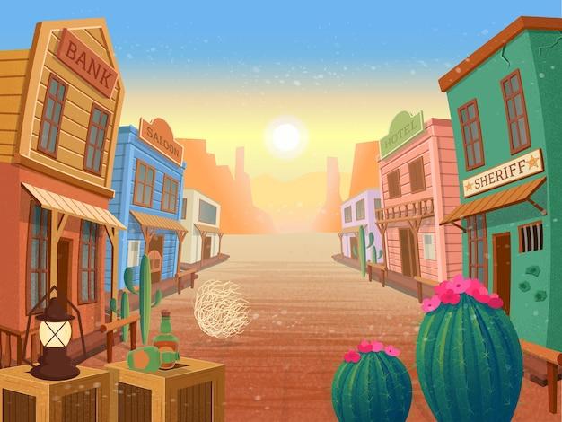 Cidade do oeste. ilustração Vetor Premium