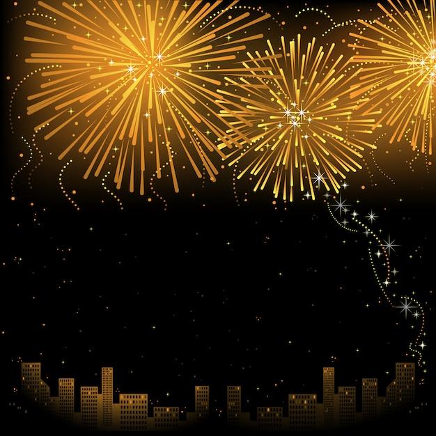 Cidade e fogo de artifício dourado Vetor Premium