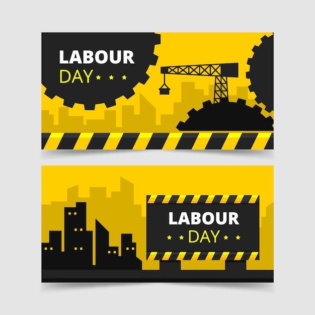 Cidade e guindaste dia do trabalho banner Vetor grátis