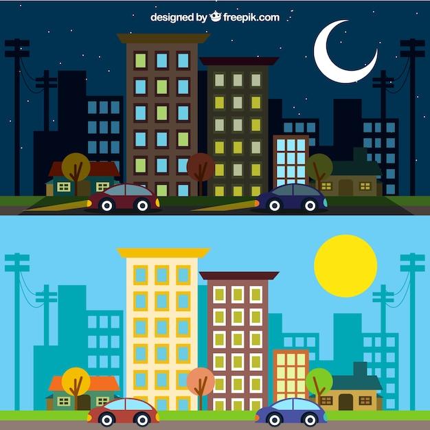 Cidade em diferentes momentos do dia Vetor grátis