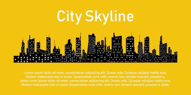 Cidade em um amarelo. Vetor Premium