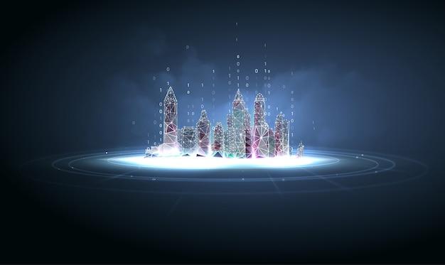 Cidade futurista em estilo de estrutura de arame poligonal Vetor Premium