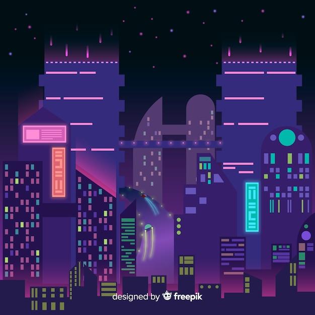 Cidade futurista na ilustração da noite Vetor grátis