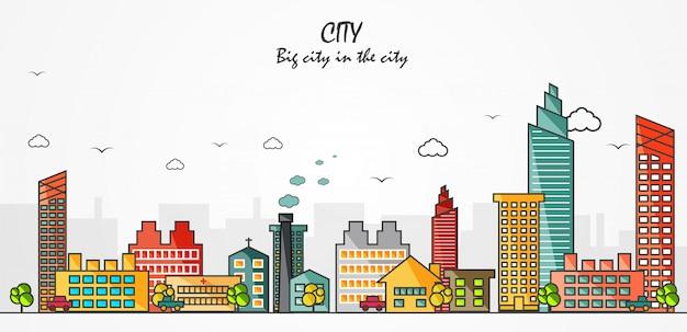 Cidade grande cidade a ilustração vetorial de cidade Vetor Premium