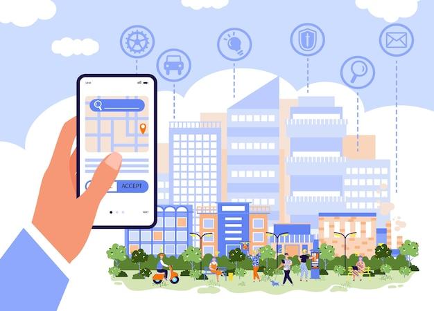 Cidade inteligente e conceito de aplicativo de negócios online Vetor Premium