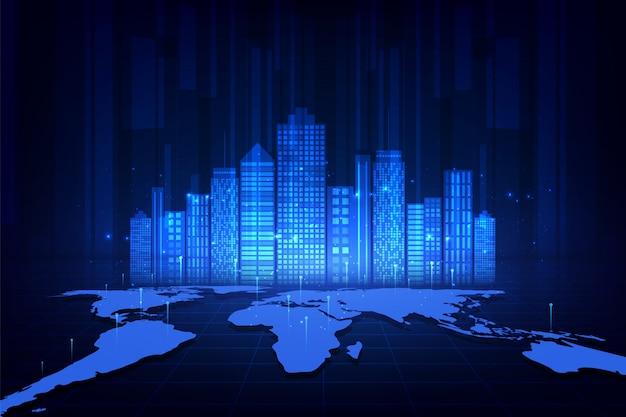 Cidade inteligente e fundo de rede de telecomunicações Vetor Premium