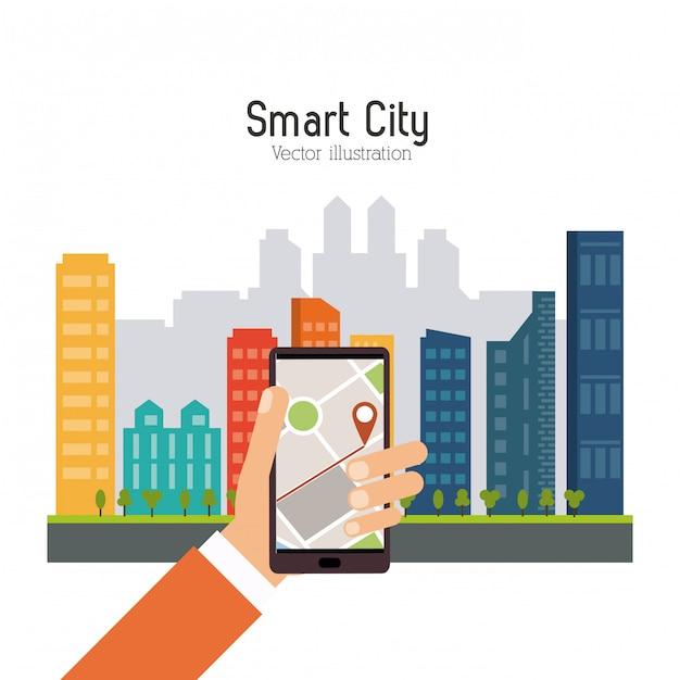 Cidade inteligente. ícone de mídia social. conceito de tecnologia Vetor Premium