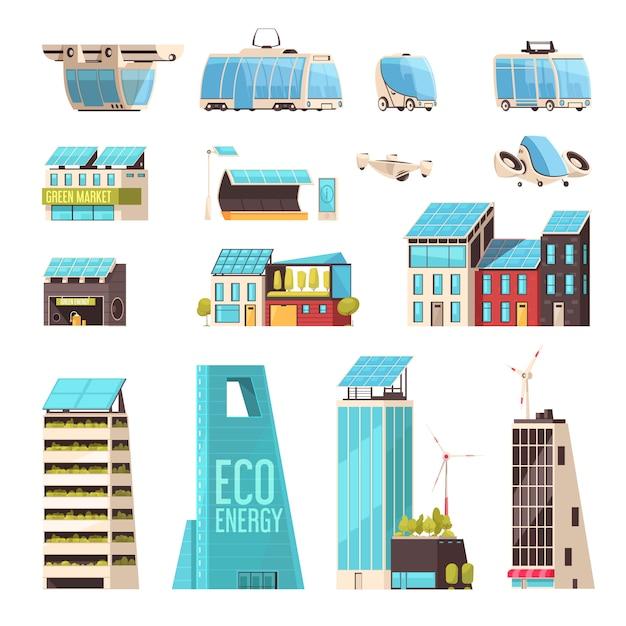 Cidade inteligente infra-estrutura de tecnologia sistema de transporte inteligente eco energia eficiente instalações elétricas conjunto de elementos plana Vetor grátis