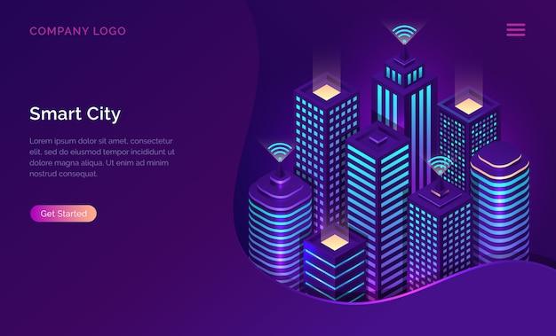 Cidade inteligente, internet das coisas ou rede sem fio isométrica Vetor grátis