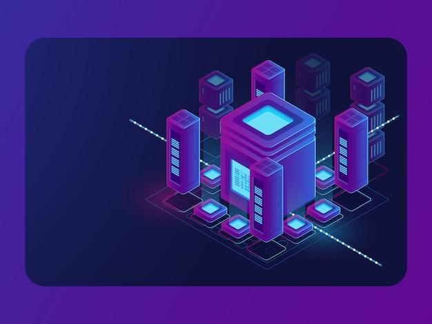 Cidade inteligente isométrica, cidade digital, sala de servidores, processamento de grande fluxo de dados, data center Vetor grátis
