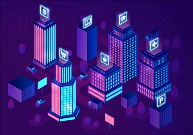 Cidade inteligente isométrica Vetor Premium