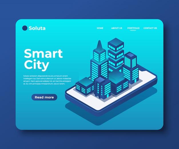 Cidade inteligente ou banner isométrico de construção inteligente para landing page Vetor Premium