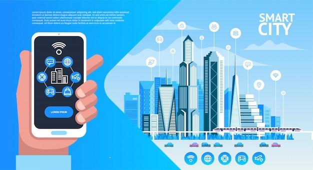 Cidade inteligente. paisagem urbana com edifícios, arranha-céus e tráfego de transportes. Vetor Premium