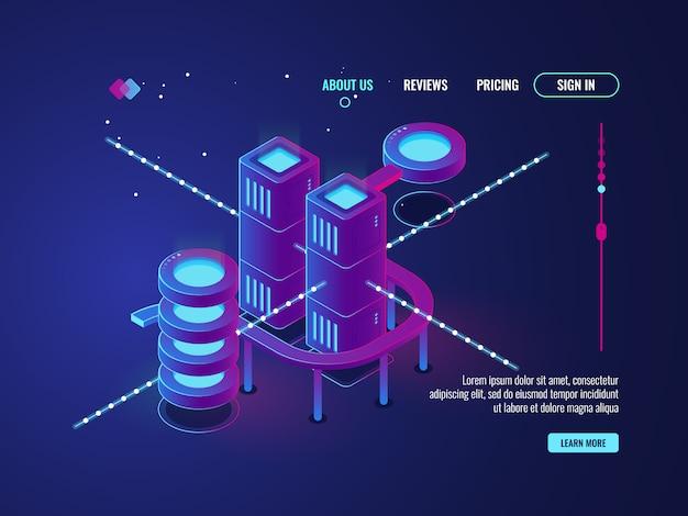 Cidade inteligente, sala de servidores isométrica, ícone de banco de dados do data center, rede e processamento de dados Vetor grátis
