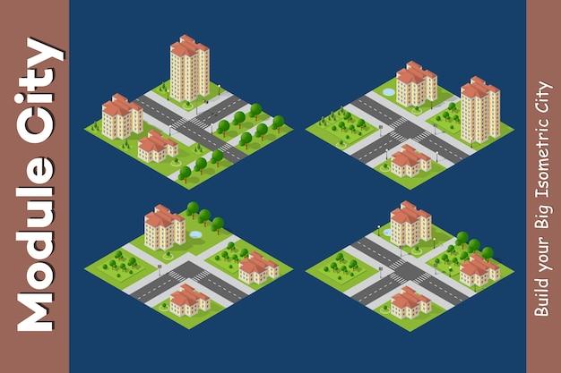 Cidade isométrica de infra-estrutura urbana Vetor Premium