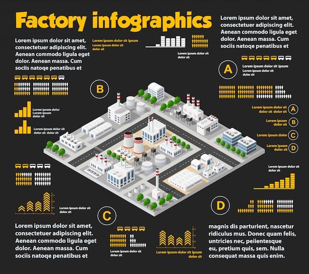 Cidade isométrica industrial Vetor Premium