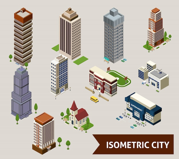 Cidade isométrica isolada ícones Vetor grátis