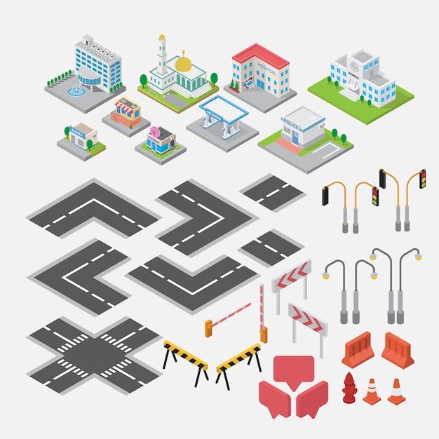 Cidade isométrica mapa elemento criador vector Vetor Premium