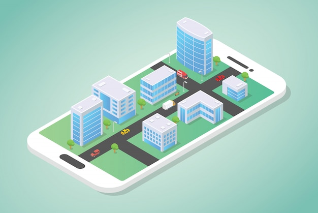 Cidade isométrica no topo do smartphone com a construção e o carro na rua com estilo moderno simples Vetor Premium