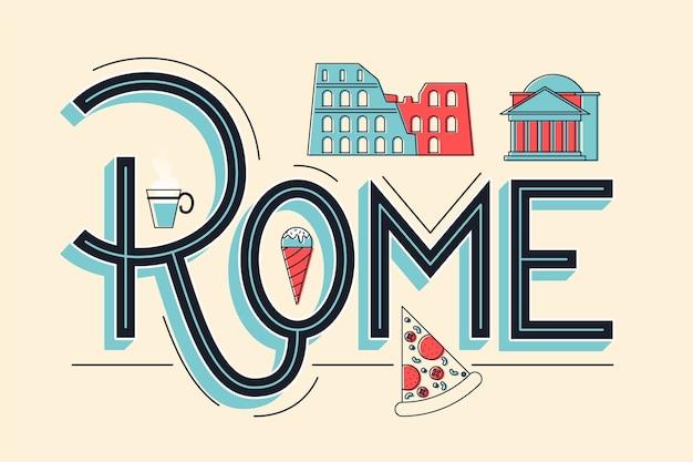 Cidade letras conceito de roma Vetor grátis