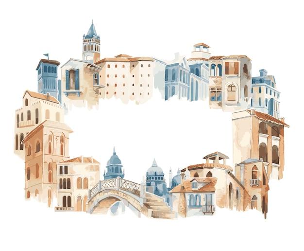 Cidade mediterrânea, predios, exterior, cor água, estilo Vetor grátis