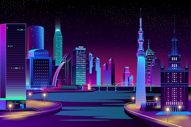 Cidade, megapolis no rio à noite. Vetor grátis