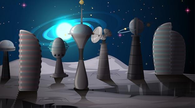 Cidade na cena do espaço Vetor grátis