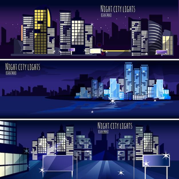 Cidade nightcape 3 banners set Vetor grátis