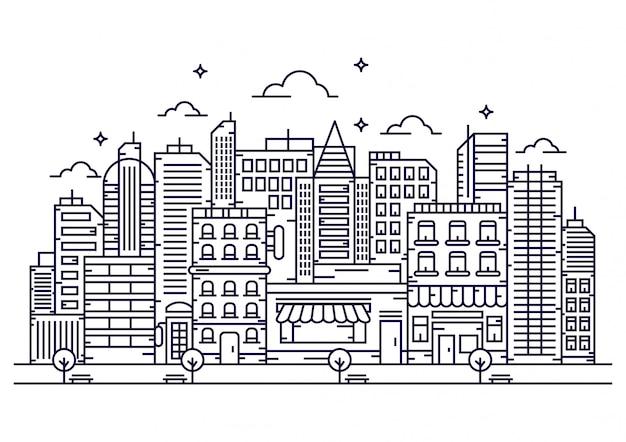 Cidade no estilo de linha Vetor Premium
