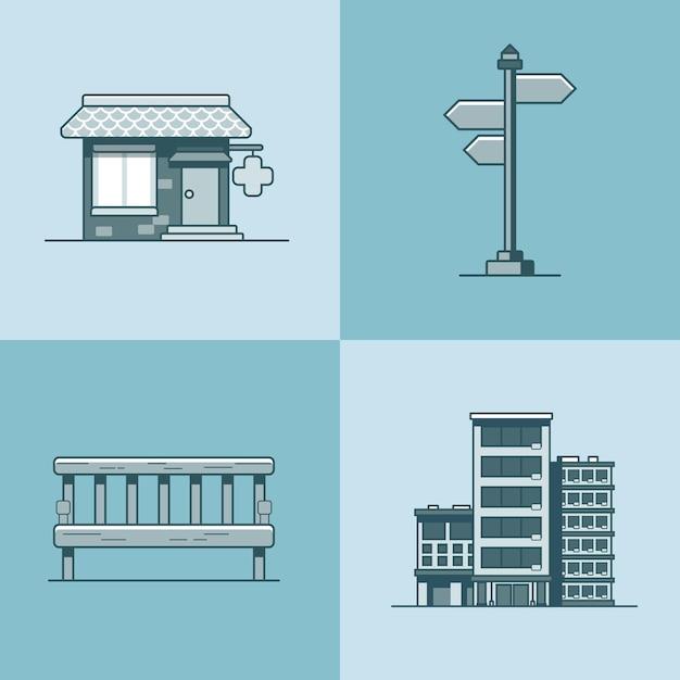 Cidade objeto banco letreiro arquitetura farmácia farmácia hotel edifício conjunto Vetor Premium