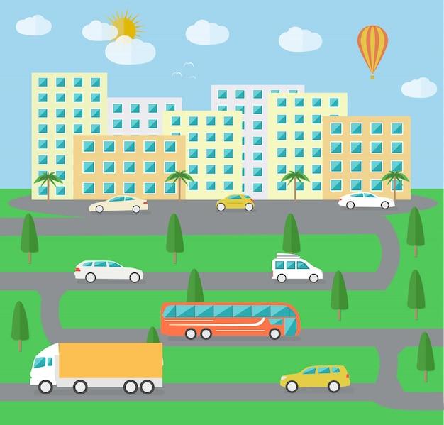 Cidade paisagem vida Vetor Premium