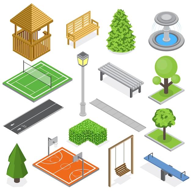 Cidade parque infra-estrutura isométrica conjunto de elementos de vegetação garoto parque infantil e quadras de esporte isoladas Vetor grátis