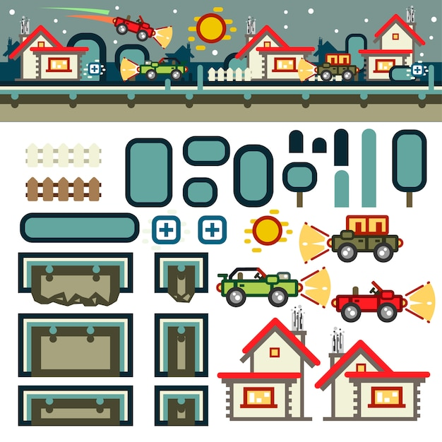 Cidade pequena à noite kit de nível de jogo plano Vetor Premium