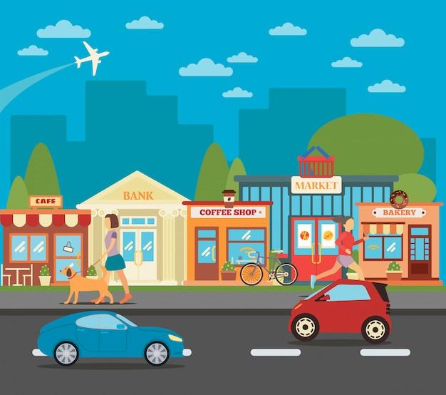 Cidade pequena. paisagem urbana com lojas, pessoas ativas e carros. ilustração vetorial Vetor Premium