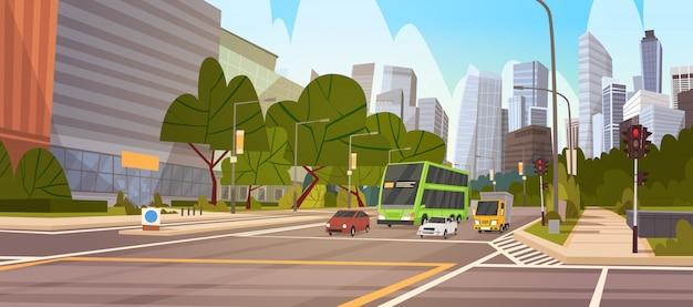 Cidade, rua, arranha-céu, edifícios, estrada, vista moderna, paisagem urbana, cingapura, centro cidade Vetor Premium
