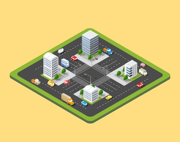 Cidade urbana isométrica Vetor Premium