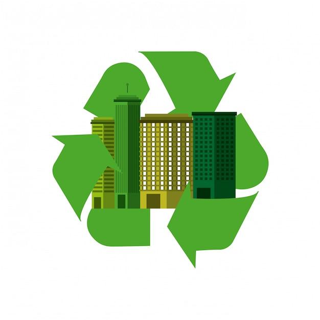 Cidade verde ecologia paisagem urbana Vetor Premium