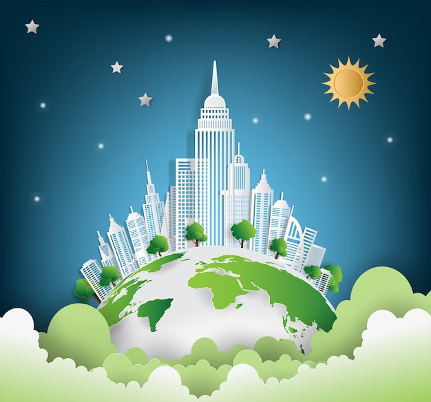 Cidade verde salva o mundo Vetor Premium