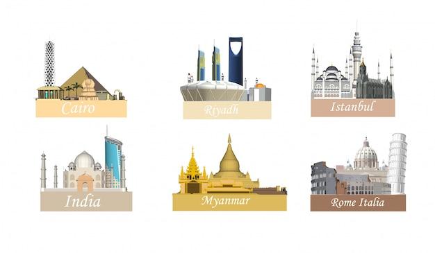 Cidades diferentes Vetor Premium