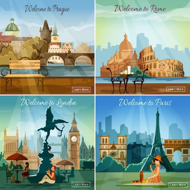 Cidades turísticas 4 composição de ícones plana Vetor grátis