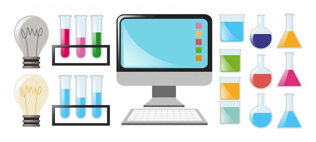 Ciência definida com taças e computador Vetor grátis