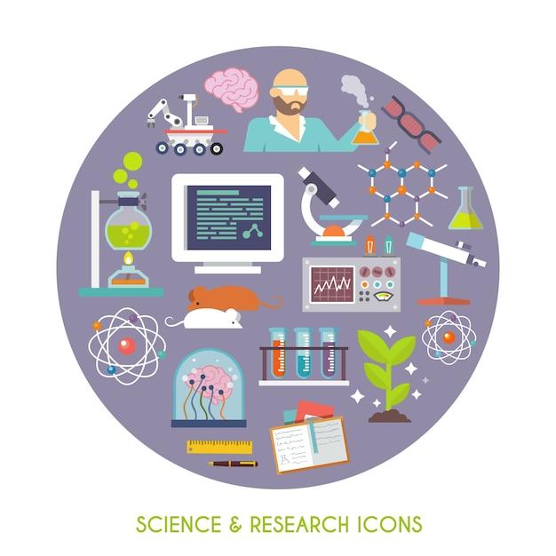 Ciência e pesquisa icon flat Vetor grátis