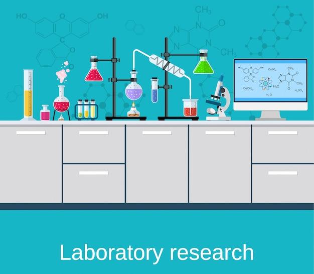 Ciência e tecnologia de laboratórios químicos Vetor Premium
