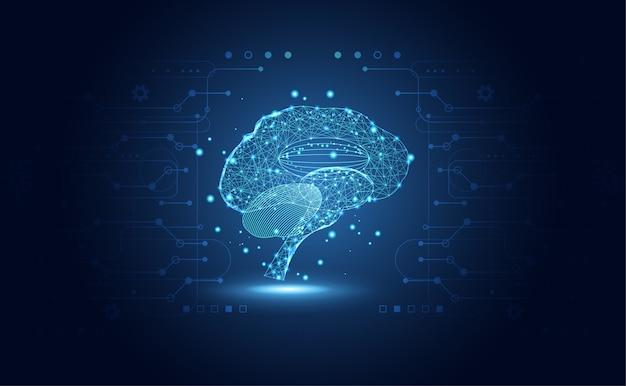 Ciência médica de saúde abstrata consiste em cérebro digital Vetor Premium