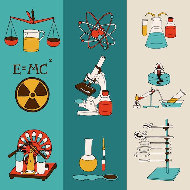 Ciência química e física de investigação científica equipamento de laboratório colorido desenho bandeira conjunto isolado ilustração vetorial Vetor grátis