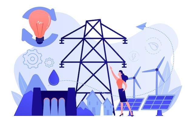 Cientista com ideias de desenvolvimento sustentável painéis solares, energia hidrelétrica, eólica Vetor grátis