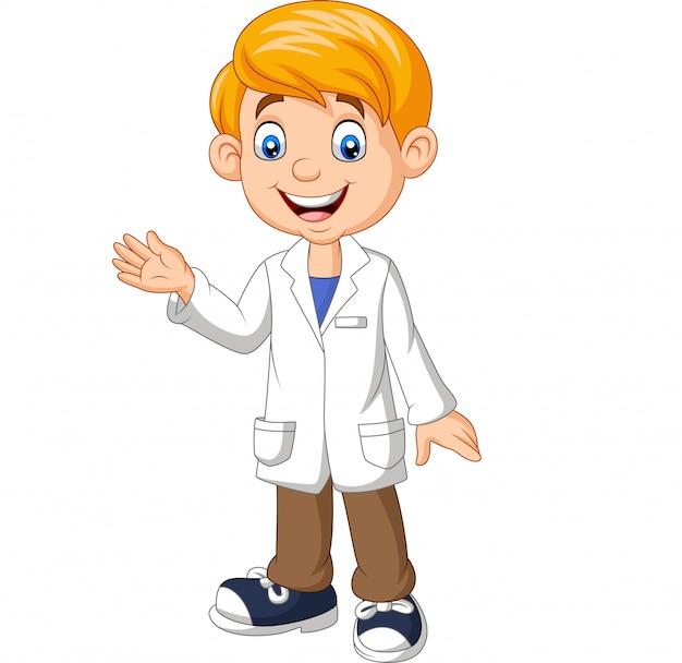 Cientista de rapaz dos desenhos animados vestindo jaleco branco de laboratório acenando Vetor Premium