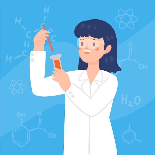 Cientista fêmea de óculos, segurando um tubo Vetor grátis