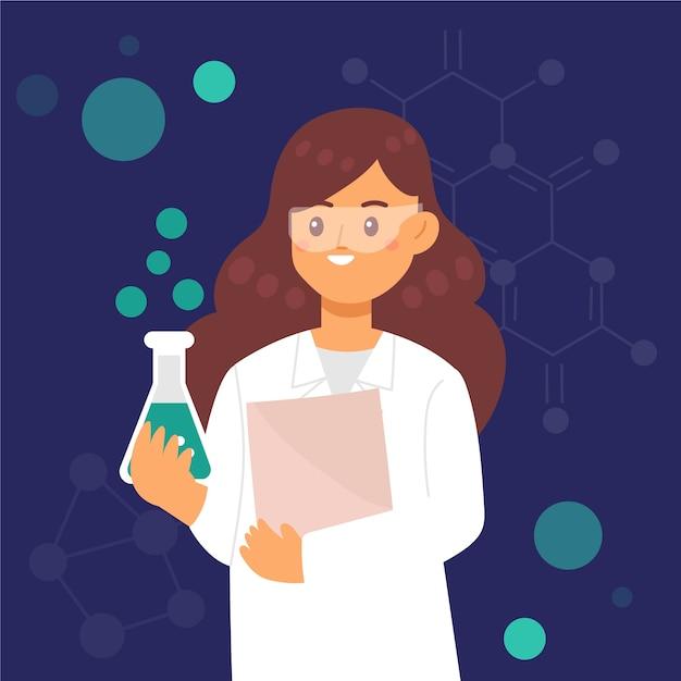 Cientista fêmea segurando um caderno e copo de vidro Vetor grátis