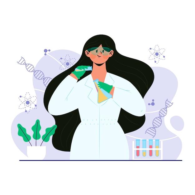 Cientista fêmea Vetor grátis